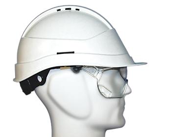 casque de chantier kara avec lunettes blanc mab o direct. Black Bedroom Furniture Sets. Home Design Ideas